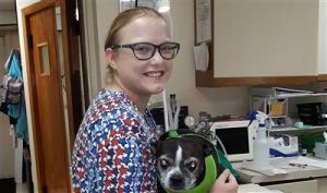Sarah Murphy holding a pug