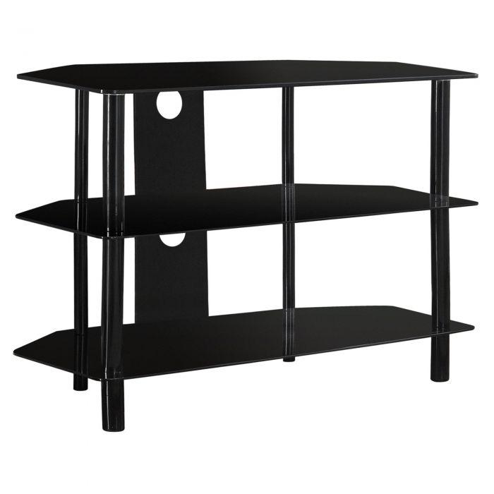 meuble tv 36 l metal noir et verre trempe noir monarch i 2506