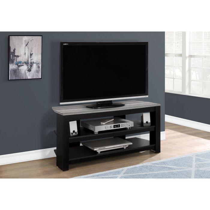 meuble tv 42 l en coin noir dessus gris monarch i 2564