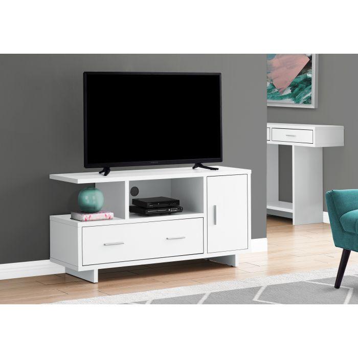 meuble tv 48 l blanc avec rangement monarch i 2800
