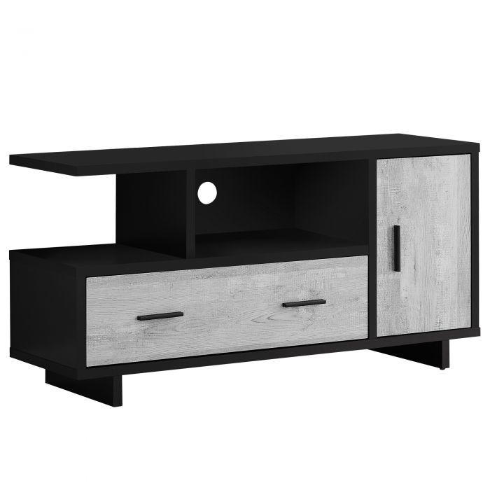 meuble tv 48 l noir faux bois gris rangement monarch i 2804