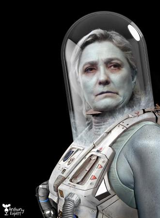 Marine Le Pen en Mrs. Freeze © Anthony Expert