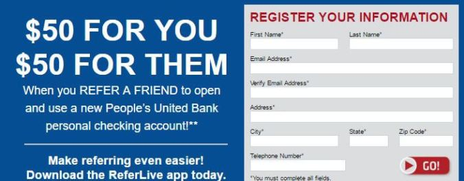 People's United Bank referral offer of $50 for you and $50 for referred customers