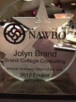 Houston NAWBO honors Jolyn Brand as a Finalist for Women Business Owner of the Year Award