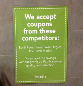 Branding with coupons poster and showing direct competitors