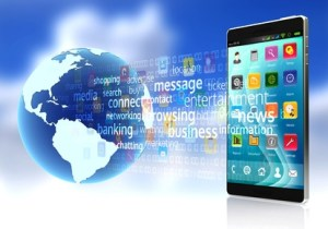 A smart phone connected to the internet and application software