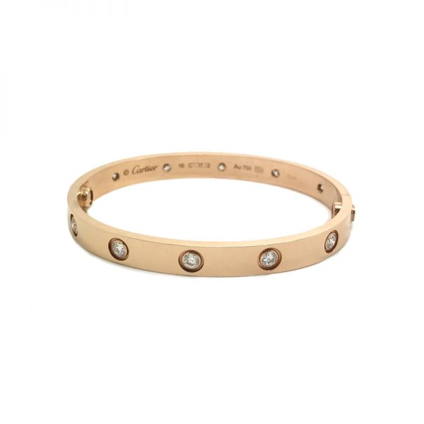 Cartier Love Bracelet in 18k Rose Gold with 10 Diamonds Size 16 Cartier Love Bracelet