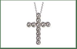 1克拉鑽石K18白金十字架項鍊
