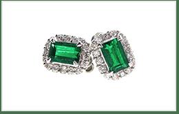 祖母綠鑽石耳環