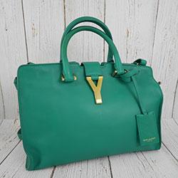 二手 SAINT LAURENT YSL 聖羅蘭 311210 CABAS 綠色 Y字 醫生包 斜背包 手提包