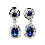 二手 K18 白金 藍寶石 SAPPHIRE 鑽石 耳環