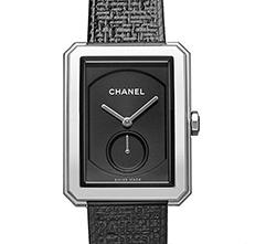 BOY·FRIEND TWEED 中型款 精鋼 斜紋軟呢布料及皮革錶帶