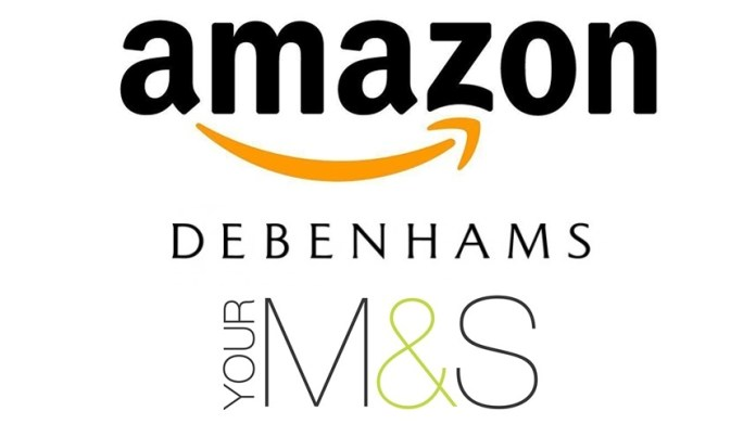Amazon, Debenhams and Marks and Spencer logos
