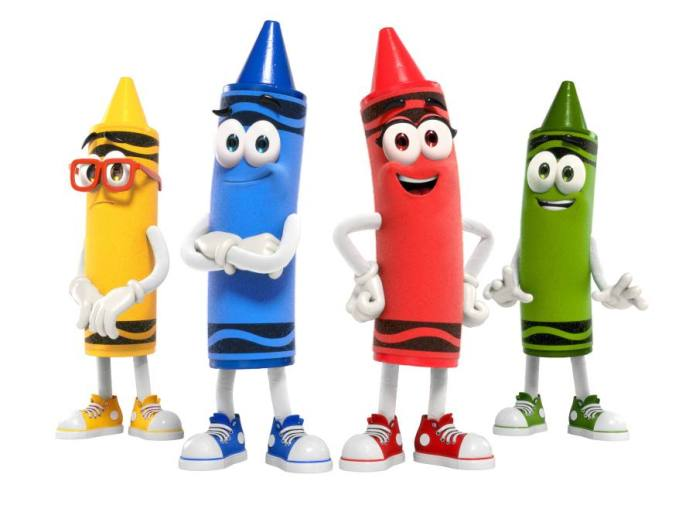 The new Crayola Characters are Goldenrod Rod, Denim Denny, Scarlet, and Asparagus Gus.