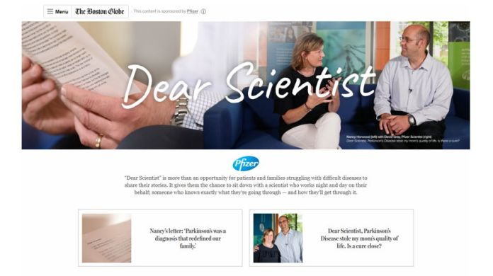 Pfizer Partners with The Boston Globe Brand Content Studio