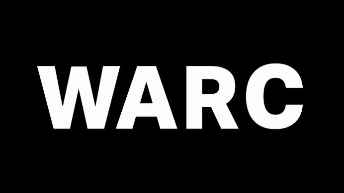 WARC white logo advertising
