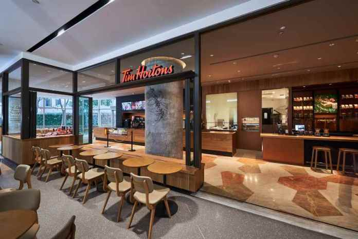 Canadian coffee chain, Tim Hortons, opens first store in China.