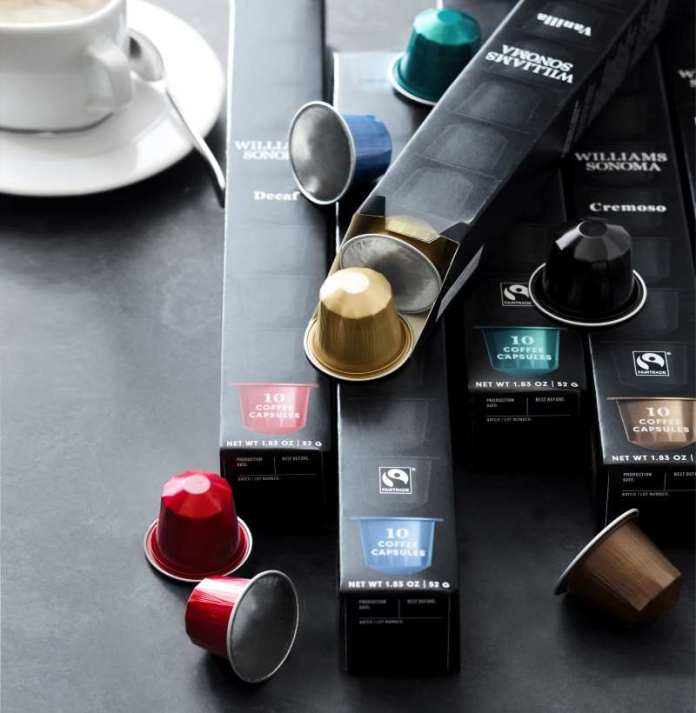 Williams Sonoma launches line of coffee capsules.