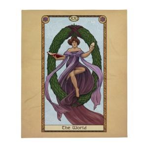 "Tabletop Tarot – The World 50""x60"" Throw Blanket"