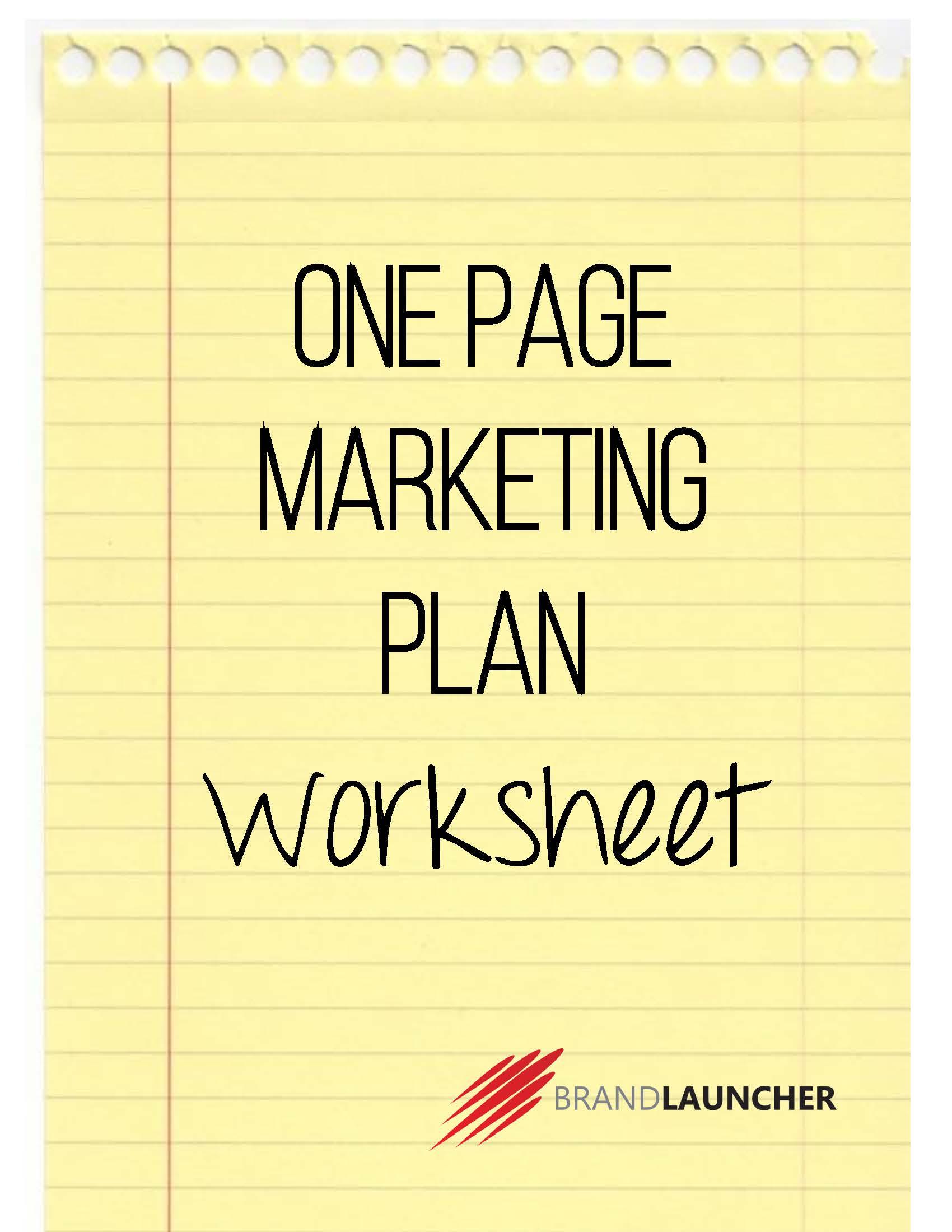 One Page Marketing Plan Worksheet