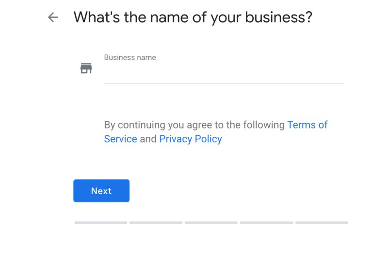 Set Up Google My Business Listing Step 1: Business Name Screenshot