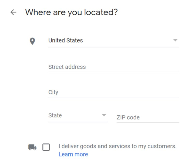 Set Up Google My Business Listing Step 2: Pick Location Screenshot