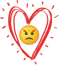 Hug Your Haters icon. An angry face emoticon surrounded by a drawn heart.