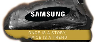 Samsung logo. Once is a story, twice is a trend.