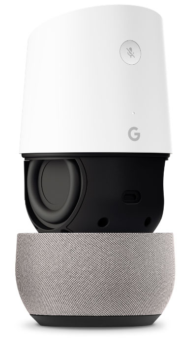 Exploded view of the Google Home showing the speakers.