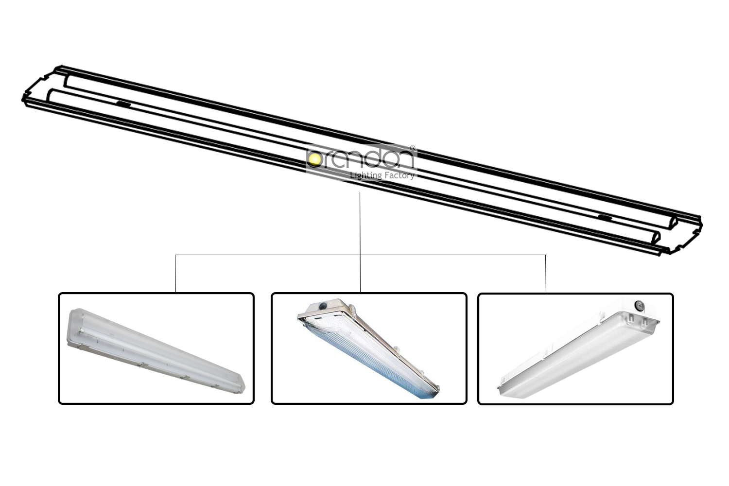 Led Retrofit Kits For Vaportight Conventional Fluorescent