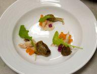 Justin Steel: smoked trout, roe, oyster mushroom, watermelon radish, arugula, dashi