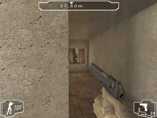 Kitschy pistol held at the wrong angle.