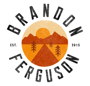 Brandon Ferguson logo, designed like a patch with backroad imagery going into the sunset orange tones