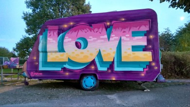 LOVE Caravan, 2015 painted the Kultur Kamping Vogn for World Wide Words.