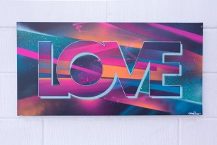 Painted Love: Eighties Fresh, 2015. 80 x 40 cm. Spray paint and acrylic on canvas.