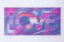 Painted Love: Rock With You, 2015. 100 x 50 cm. Spray paint and acrylic on canvas.