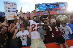 Telvin Smith celebrates with the fans
