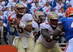 Tre Jackson blocks for Jameis Winston