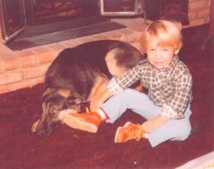 Young Brandon Novak with Dog