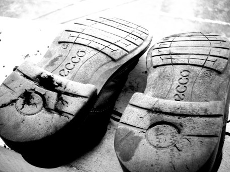 I did a lot of walking for two years. Some days we'd walk 10 miles, and it was always HOT. That took a toll on my body, but not as much of a toll as it took on my shoes.