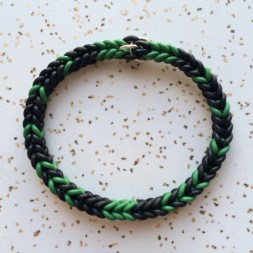 woven_stretch_bracelet_black_and_green_rubber_pattern_sterling_silver_closure
