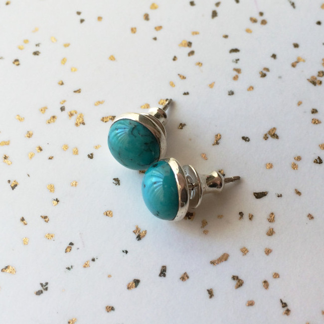 Turquoise Stud Earrings in Sterling Silver