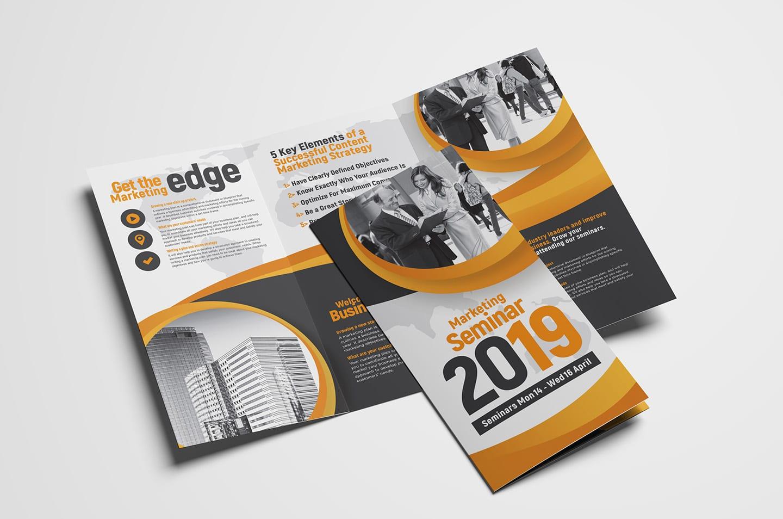 Marketing Seminar Tri Fold Brochure Template Psd Ai Vector
