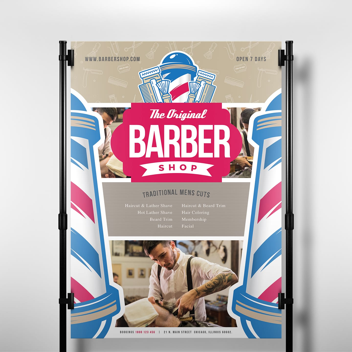 a3 barber shop poster template in psd
