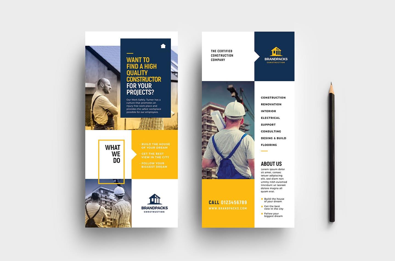Construction Company Dl Rack Card Template In Psd Ai
