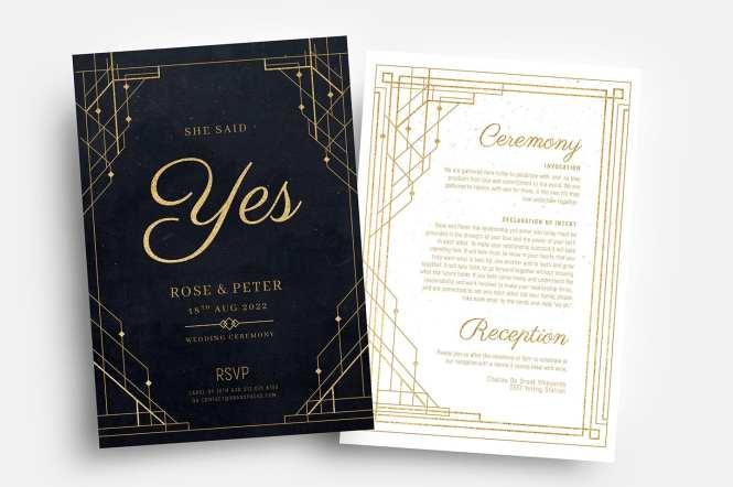 Art Deco Wedding Invitation Templates Brandpacks