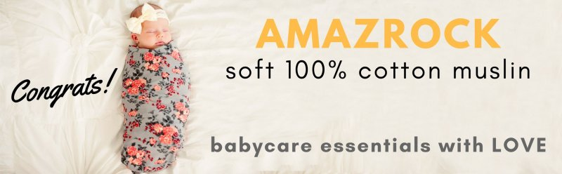 Amazrock - Soft 100% Cotton Muslin Swaddle Blanket