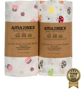 Best Swaddle Blanket (Fun Pink) by Amazrock