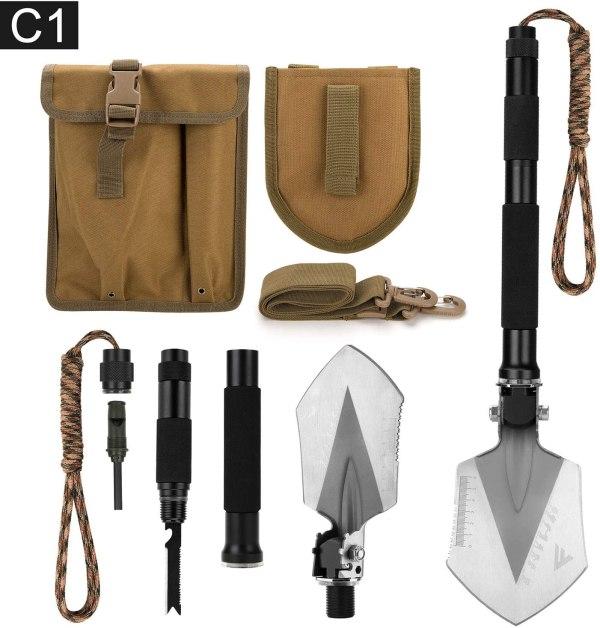 FiveJoy Military Folding Shovel Multitool (C1) - Portable Foldable Survival Tool
