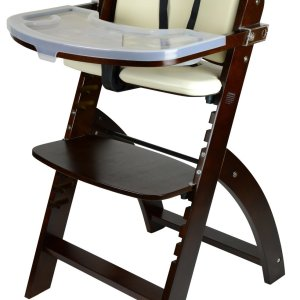 Abiie Beyond Wooden High Chair with Tray. The Perfect Adjustable Baby Highchair